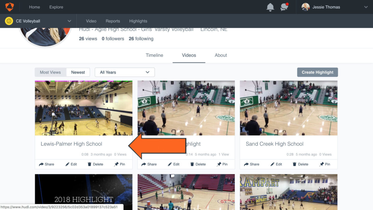 how to download hudl highlights - Click on the high­light you'd like to order