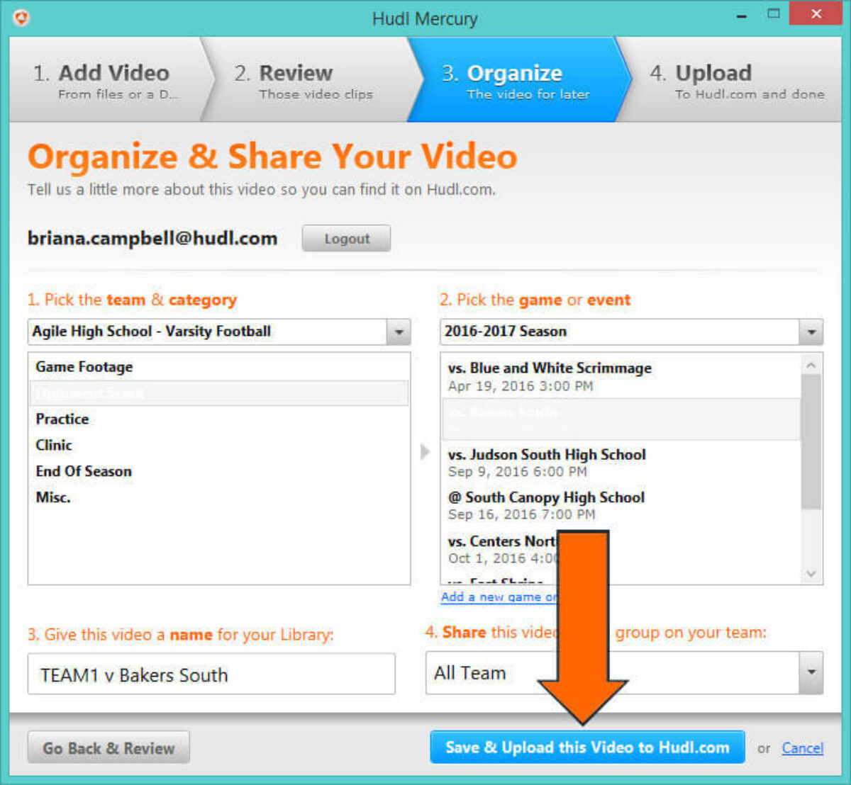 how to Download Hudl Mercury to Upload Video - Click Save & Upload this Video to Hudl​.com.