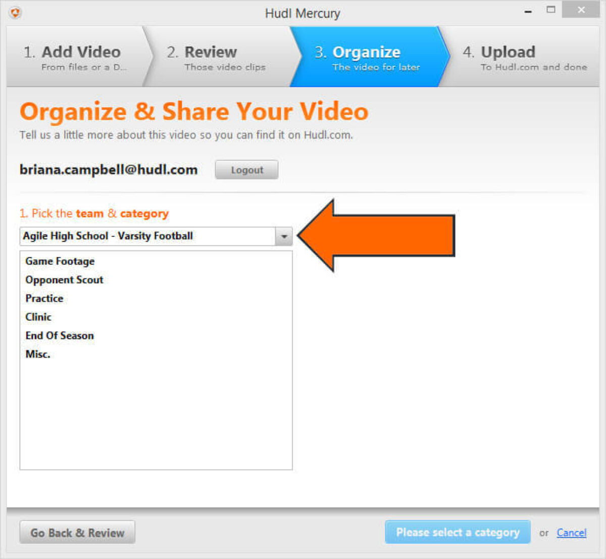 how to Download Hudl Mercury to Upload Video - Add Media Files Select Team arrow.