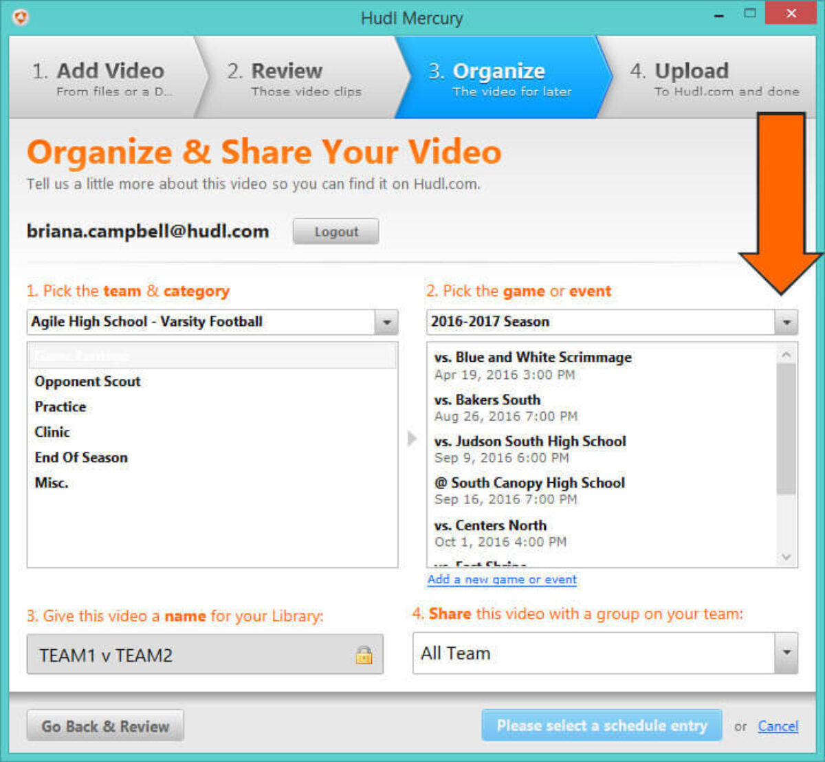 how to Download Hudl Mercury to Upload Video - Use the drop-down to select the cor­rect season.