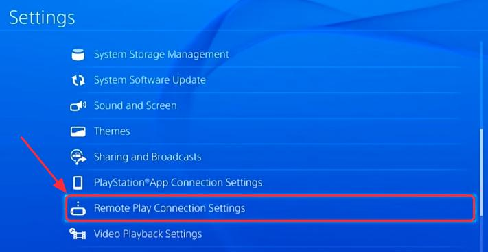 Remote Play Connection Settings