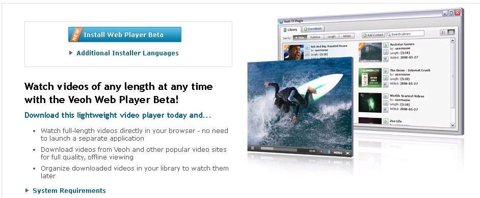 the best veoh player alternative - Veoh web playerFunctions and System Requirements
