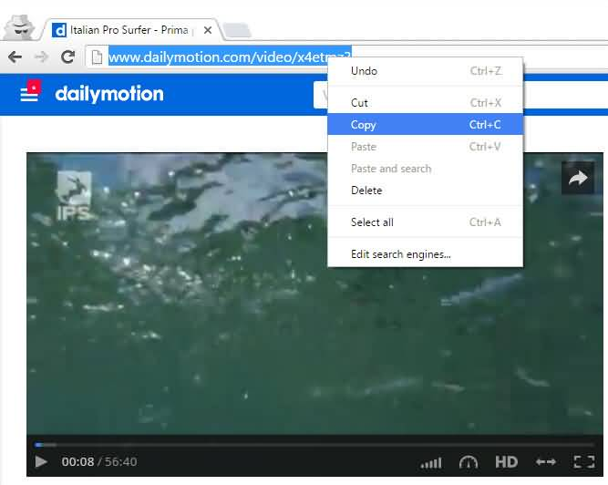 copy dailymotion url link