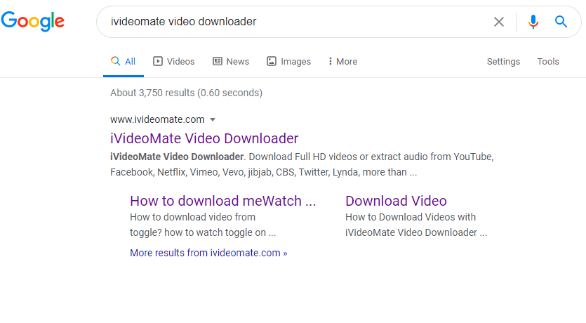 iVideoMate Video Downloader Google search